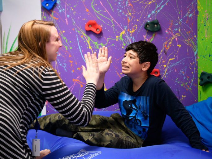 playing in the sensory gym